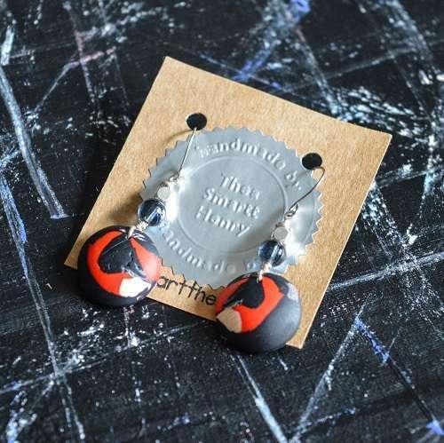 theasmartthenry.co.uk abstract ladybug dome drop earrings